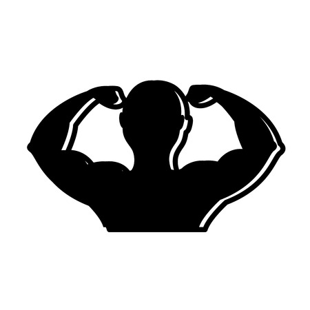 silhouette of muscle man bodybuilder fitness gym vector illustration vector illustration black image