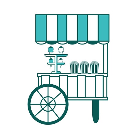 shop cart popcorn and ice cream carnival vector illustration green image