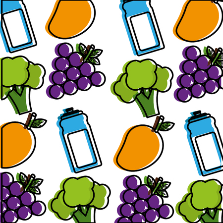 healthy lifestyle broccoli  sport bottle water wallpaper image vector illustration