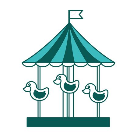 carnival festival carousel with ducks vector illustration green image