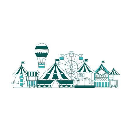 カーニバルサーカスファンフェアアミューズメント楽しみパークベクターイラスト 緑の画像  イラスト・ベクター素材