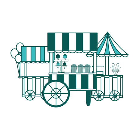 carnival circus booths food ice cream balloons vector illustration green image