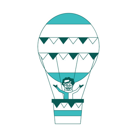 carnival circus clown flying with hot air balloon vector illustration green image Zdjęcie Seryjne - 98141851