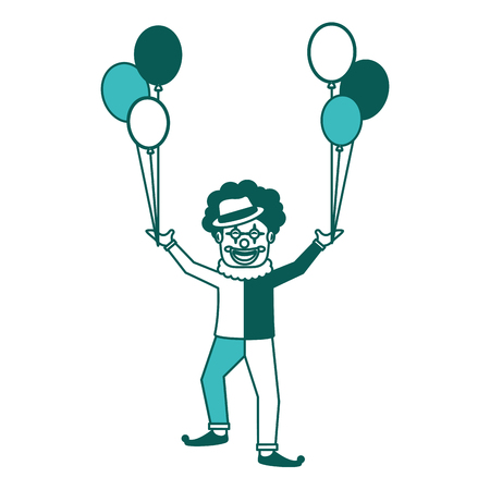 happy clown character holding balloons celebration vector illustration green image