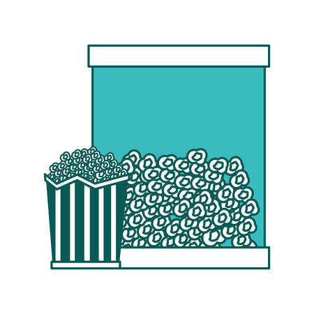 popcorn in bucket snack delicious vector illustration green image Illustration