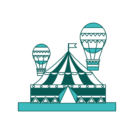 circus carnival big tent and hot air balloons flying vector illustration green image Illustration
