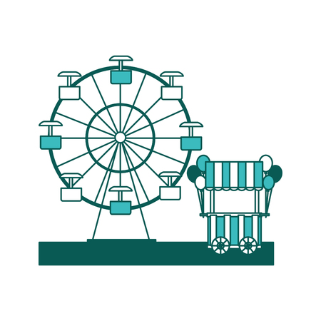 carnival festival Ferris wheel and booth balloons vector illustration green image