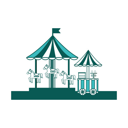 carnival festival carousel and food ice cream cart vector illustration green image Illustration
