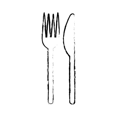 chicken fork and knife utensil image vector illustration sketch image