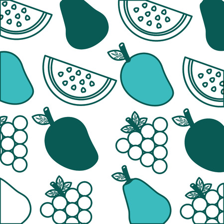 background fresh nutrition  grapes watermelon vector illustration green image