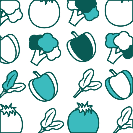 background fresh nutrition bell pepper broccoli vector illustration green image