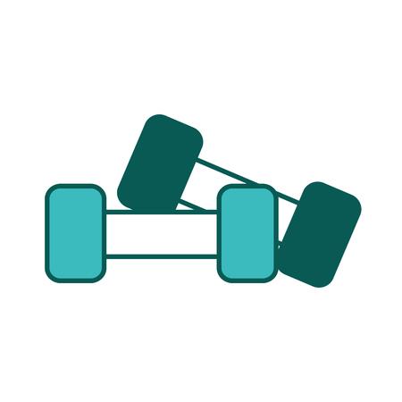 フィットネス機器ペアダンベル重量ベクトルイラスト緑の画像