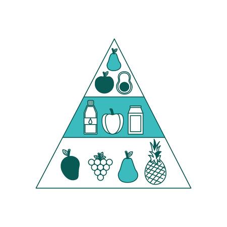 健康的なライフスタイル食品ピラミッド栄養ダイエットベクターイラスト 緑の画像
