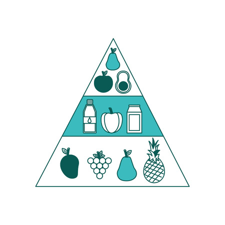healthy lifestyle food pyramid nutrition dieting vector illustration green image