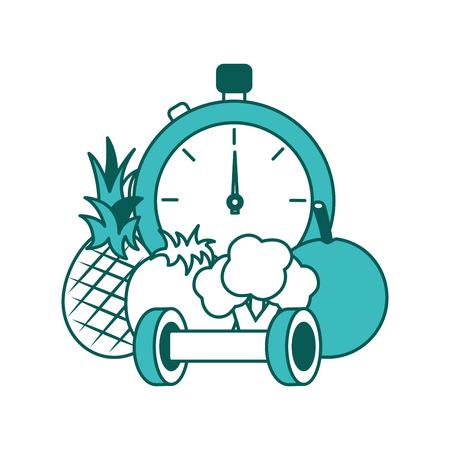 healthy lifestyle sport fresh pineapple tomato broccoli barbell chronometer vector illustration green image Illustration