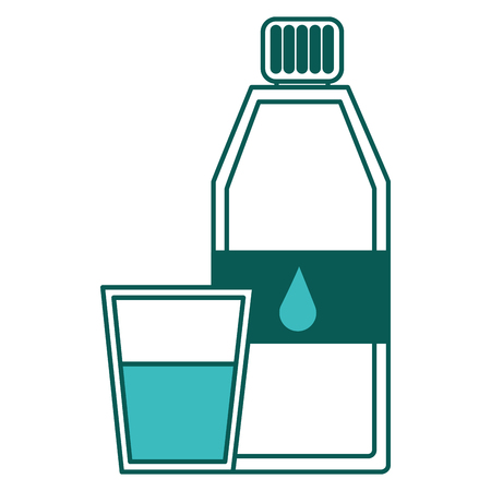Bottle water and fresh glass cup liquid vector illustration green image