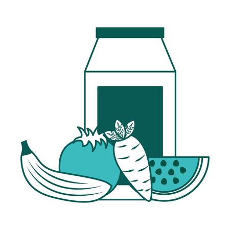 packaging juice and carrot banana tomato watermelon vector illustration green image Фото со стока - 98250198