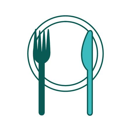 chicken utensils dish fork and knife vector illustration green image