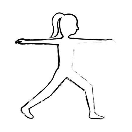 スポーツフィットネスストレッチ女性健康なライフスタイルベクターイラストスケッチ画像  イラスト・ベクター素材