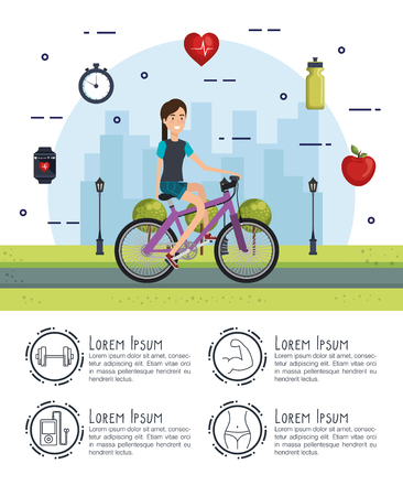 woman in bicycle with healthy lifestyle icons vector illustration design