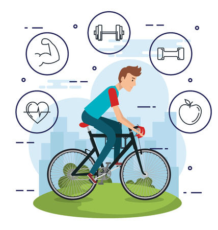 man in bicycle with healthy lifestyle icons vector illustration design