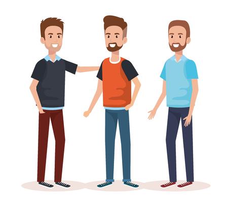 group of men avatars characters vector illustration design Illustration