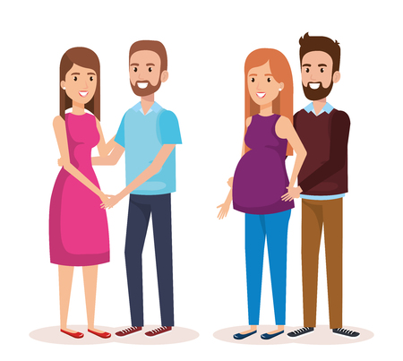 woman pregnacy with group of people avatars characters vector illustration