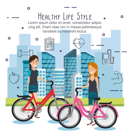 people in bicycle with healthy lifestyle icons vector illustration design