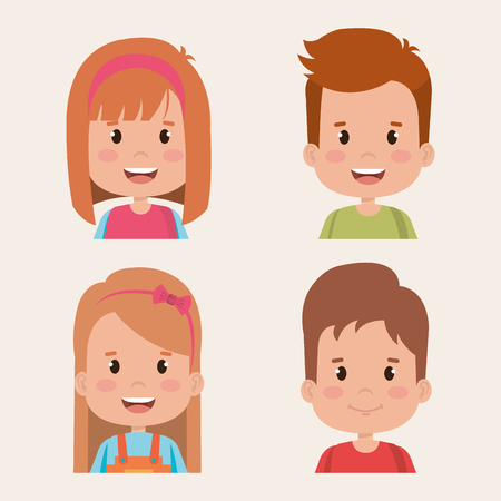 group of kids little characters vector illustration design