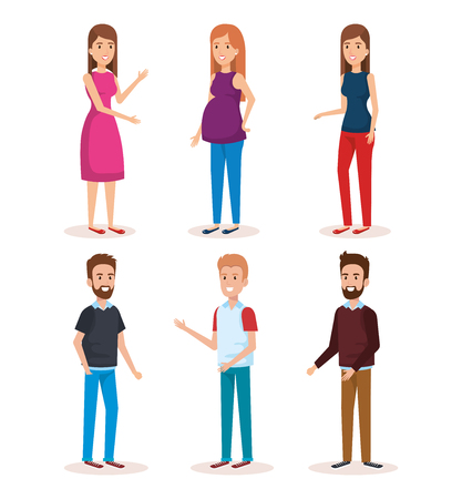 kobieta w ciąży z grupą ludzi avatary znaków wektorowych ilustracji Ilustracje wektorowe