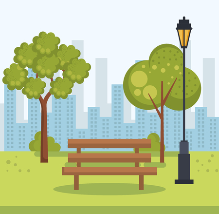 beautiful park landscape scene vector illustration design
