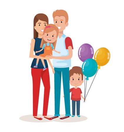 かわいい家族幸せなキャラクターベクトルイラストデザイン  イラスト・ベクター素材