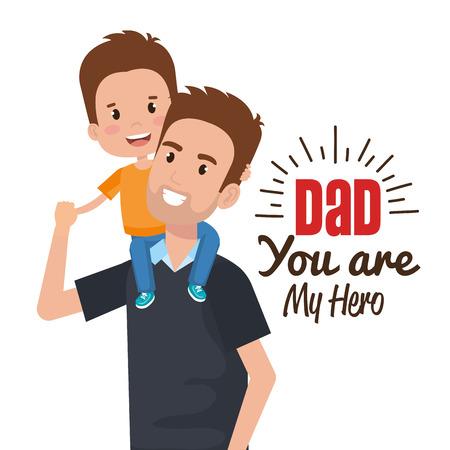 快乐父亲节人物矢量插画设计