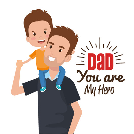happy fathers day characters vector illustration design