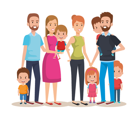 cute family happy characters vector illustration design Çizim