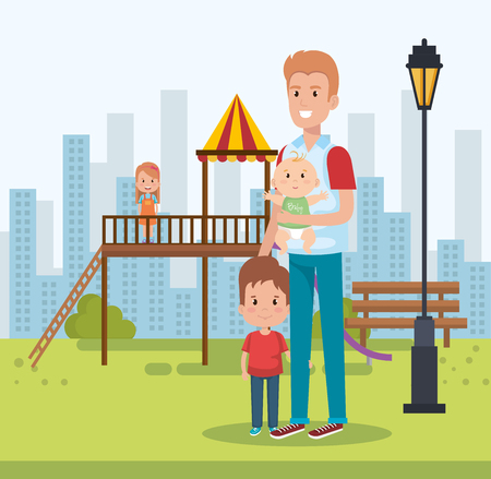 best father in the park scene vector illustration design
