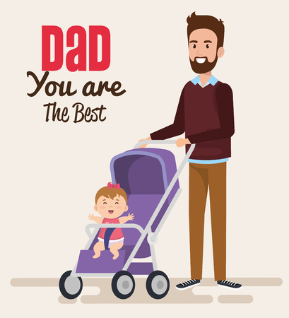 happy fathers day characters with baby in cart vector illustration design