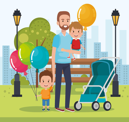 best father in the park scene vector illustration design