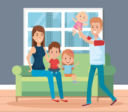 cute family happy in the living room characters vector illustration design Vettoriali
