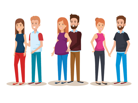 woman pregnacy with group of people avatars characters vector illustration Reklamní fotografie - 98145892