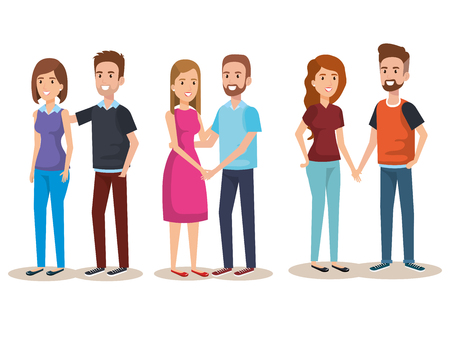 young people avatars characters vector illustration design Illustration
