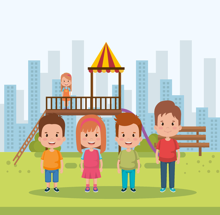 group of kids in the park little characters vector illustration design