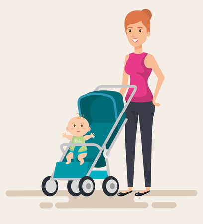 mom with little baby in cart characters vector illustration design