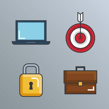 business success set icons vector illustration design