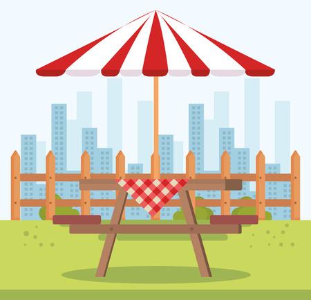 picnic table with umbrella outdoor scene vector illustration design