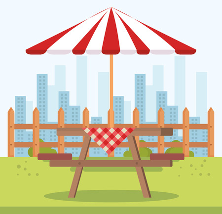 picnic table with umbrella outdoor scene vector illustration design