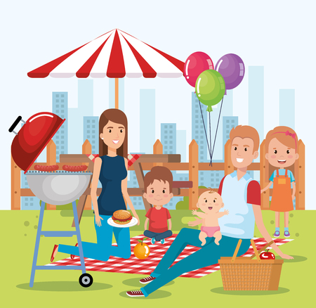 cute family happy in the picnic day characters vector illustration design 일러스트