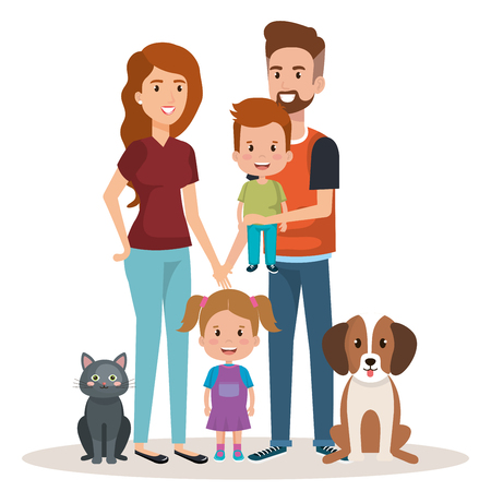 cute family happy and pet characters vector illustration design