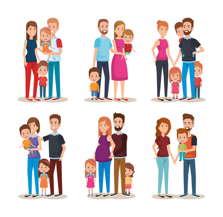 set cute family happy characters vector illustration design Иллюстрация