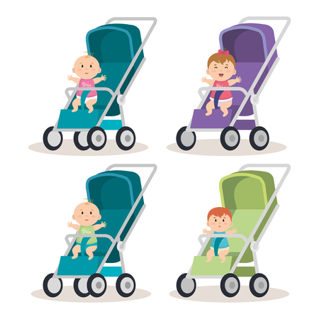little babys in carts characters vector illustration design Illustration
